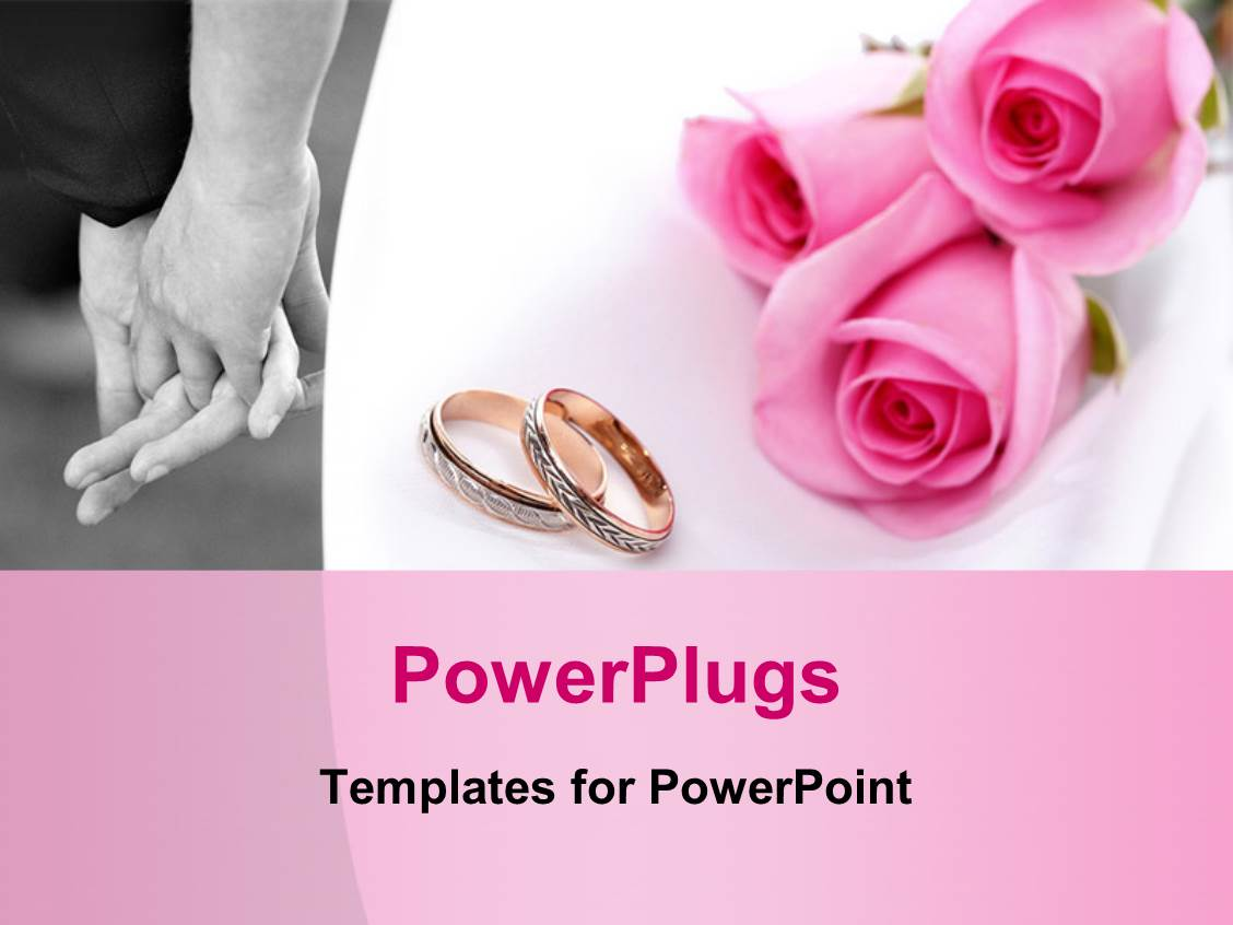 PowerPoint Template: wedding theme with two golden wedding rings ...