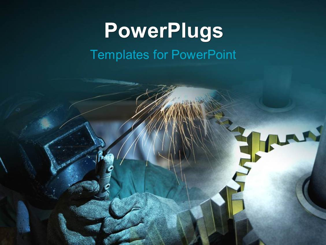Powerpoint template welder working at shipyard with gears in powerpoint template displaying welder working at shipyard with gears in background pronofoot35fo Choice Image