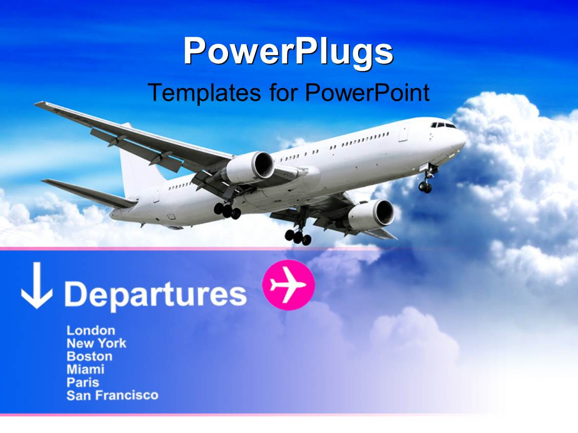 Powerpoint template white airplane in cloudy sky with departure powerpoint template displaying white airplane in cloudy sky with departure information toneelgroepblik Choice Image