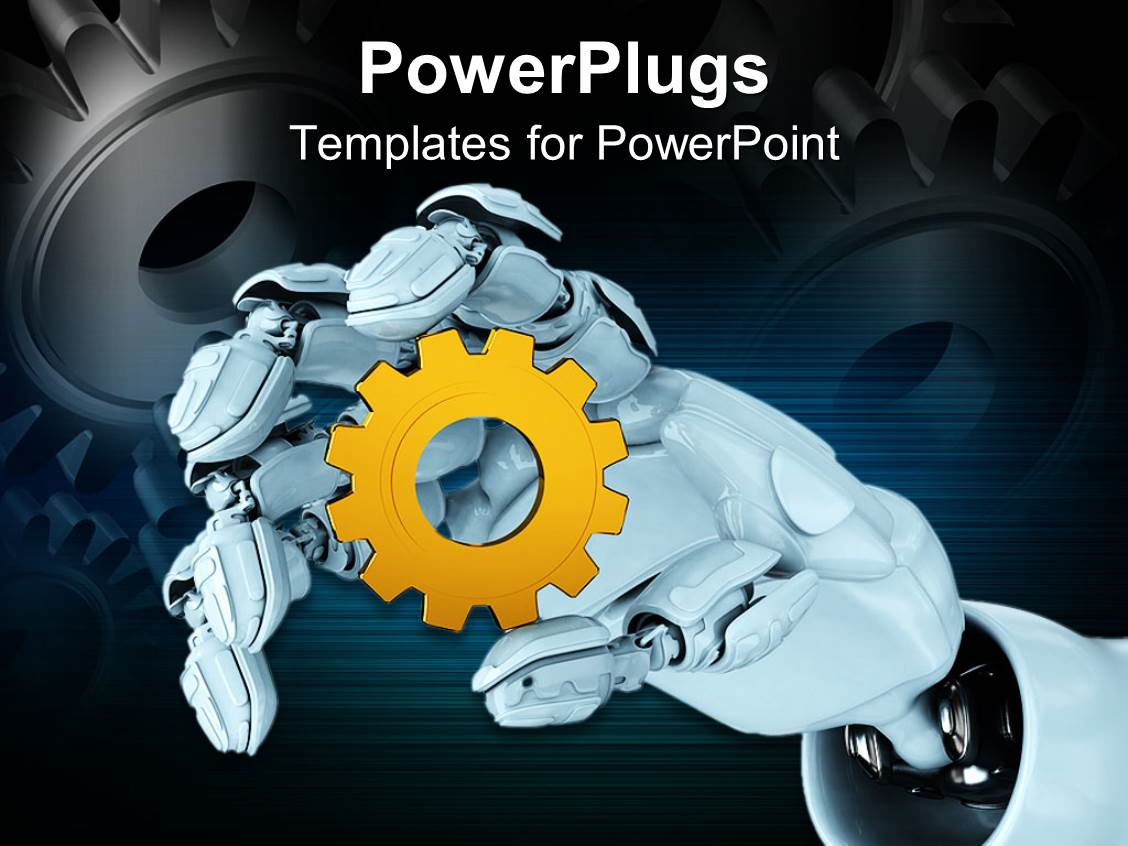 Powerpoint template white robot hand holding yellow spur gear 29189 powerpoint template displaying white robot hand holding yellow spur gear toneelgroepblik Gallery