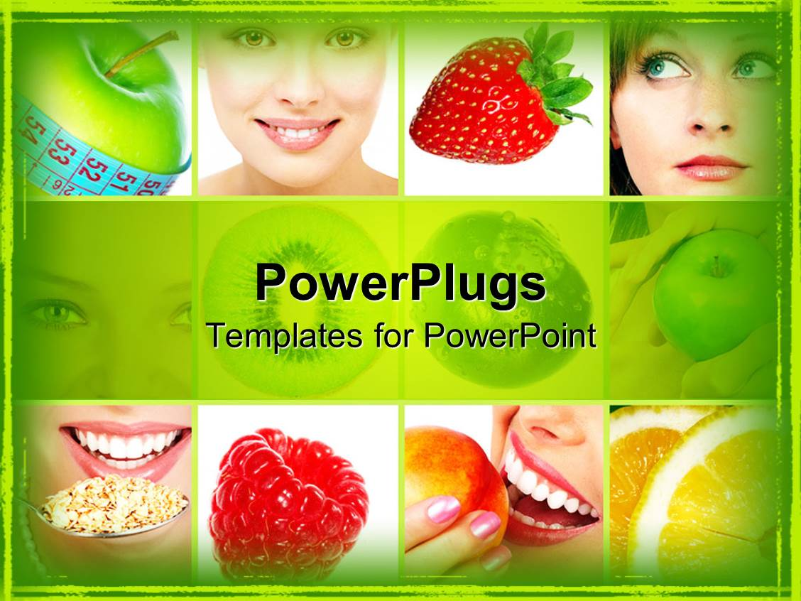 5000 nutrition powerpoint templates w nutrition themed backgrounds colorful theme having women eating healthy fruits berries oatmeal and apple with measuring tape template size toneelgroepblik Gallery