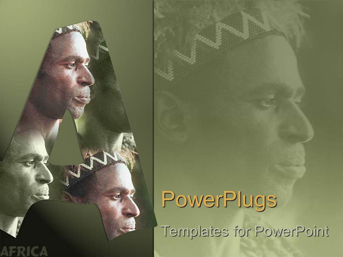 PowerPoint Template Displaying Wonderful Face of a Majestic African Continent Set in Green