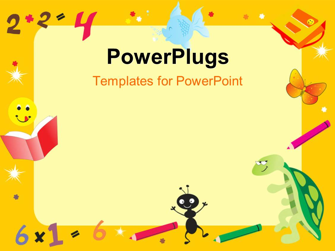 Powerpoint template girl and two boy children posing in frames with beautiful presentation theme with yellow abstract frame for kid with books and color pens toneelgroepblik Images