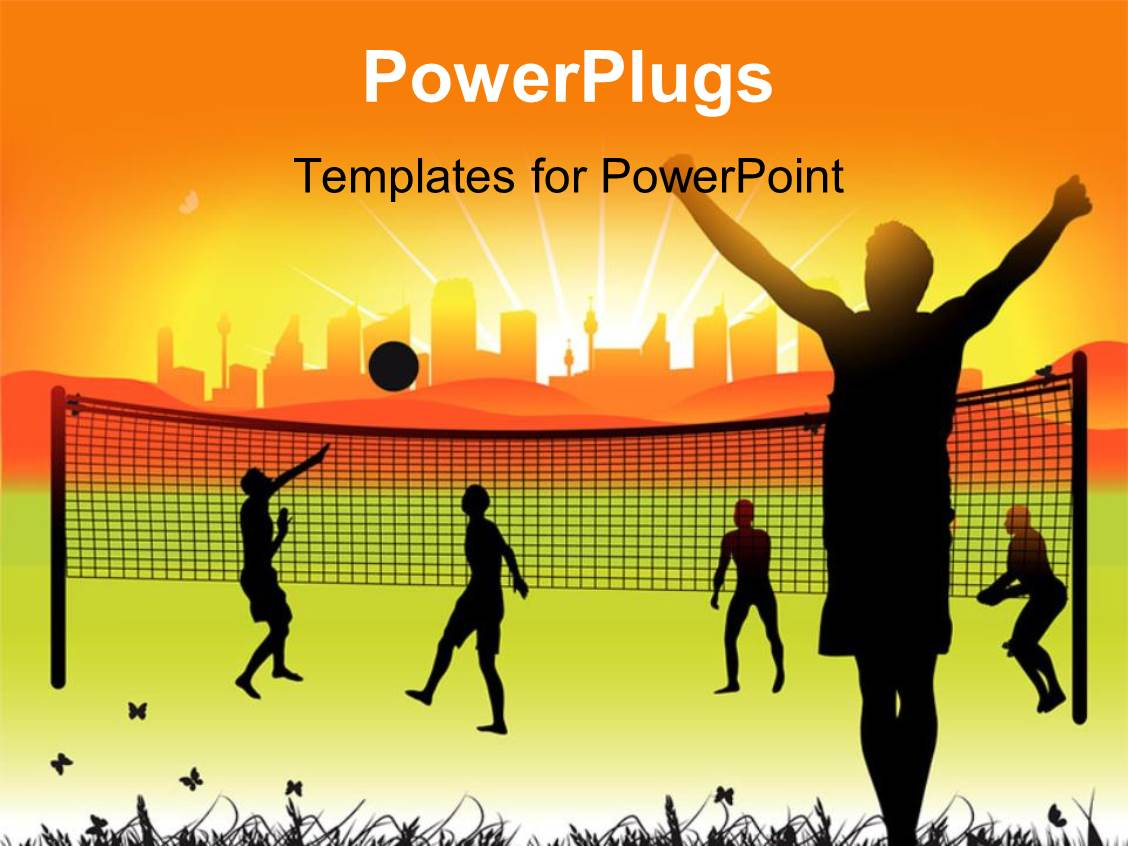 Volleyball powerpoint templates ppt themes with volleyball amazing slide set consisting of youth playing volleyball in ground on nature summer toneelgroepblik Images