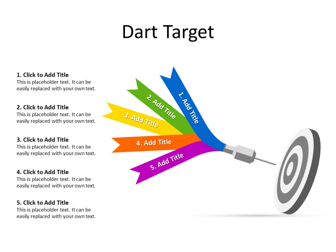PowerPoint Slide - Dart Diagram - 5 Darts - Multicolor