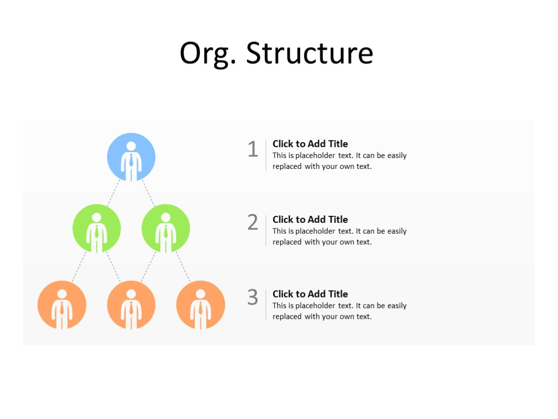 PowerPoint Slide - Organization chart - 3 level - Multicolor