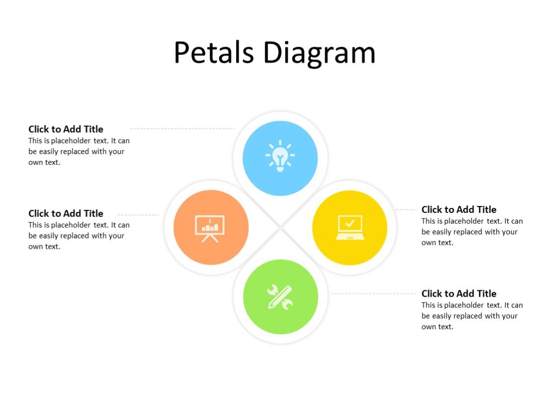 PowerPoint Slide - Petals diagram - 4 petals - Multicolor