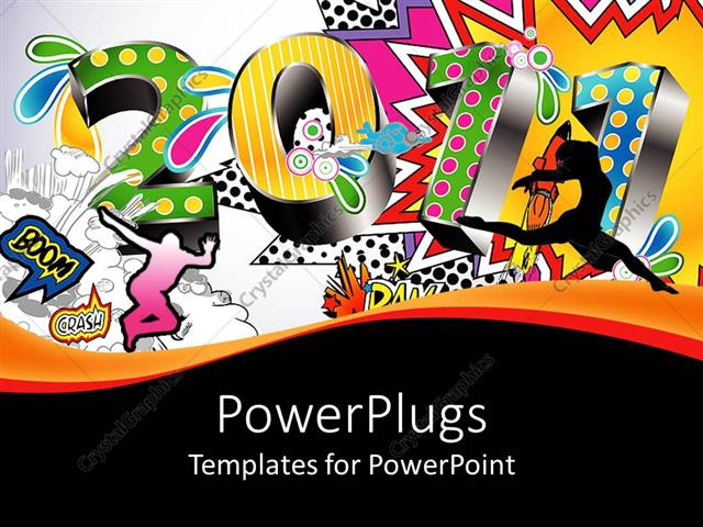 Powerpoint Template 2011 Written In 3d Numbers With Various