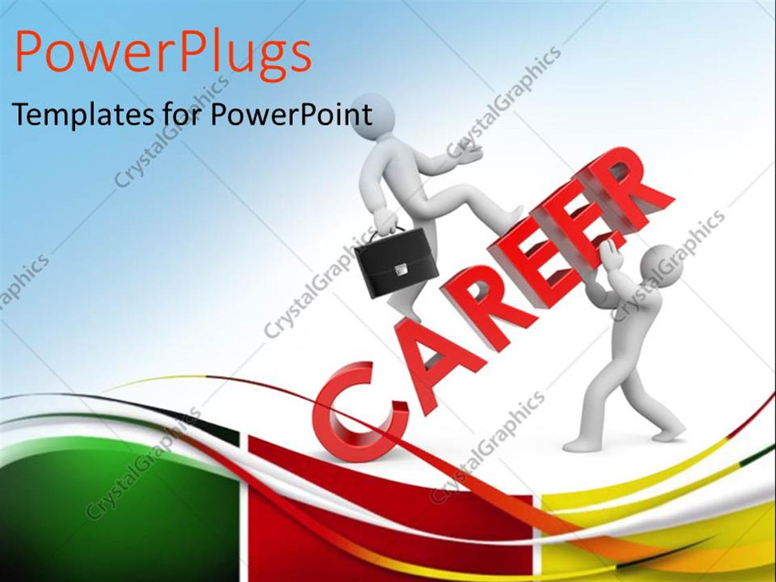 PowerPoint Template Displaying 2 People with the Word Career and Bluish Background