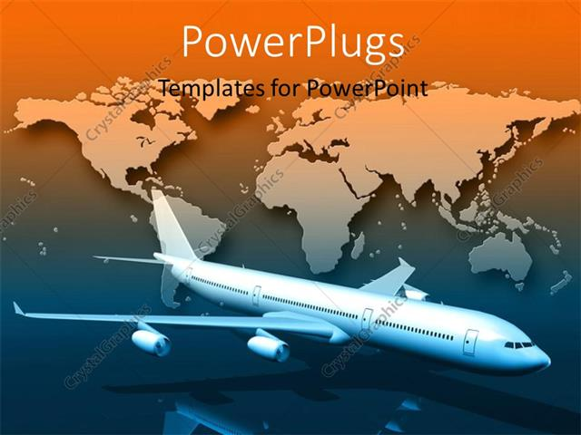 Powerpoint template a 3d airplane flying with a world map powerpoint template displaying a 3d airplane flying with a world map background toneelgroepblik Images