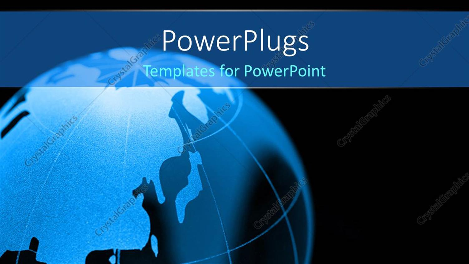 PowerPoint Template Displaying 3D Blue Color Globe, with Black Color
