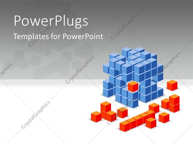 PowerPoint Template 3D Blue And Orange Colored Cube Puzzles With