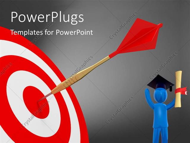 PowerPoint Template Displaying a 3D Character and a Dart on a Dart Board