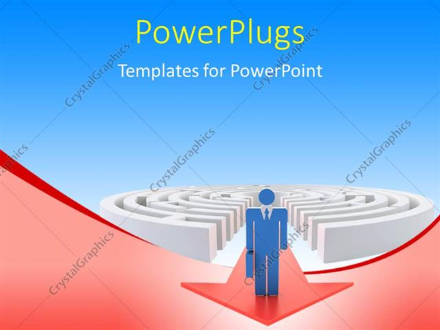 PowerPoint Template Displaying a 3D Character Standing at the Top of a Red Arrow Coming from a Maze