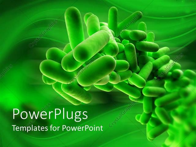 Powerpoint template 3d close up of isolated green bacteria on powerpoint template displaying 3d close up of isolated green bacteria on green background toneelgroepblik Gallery