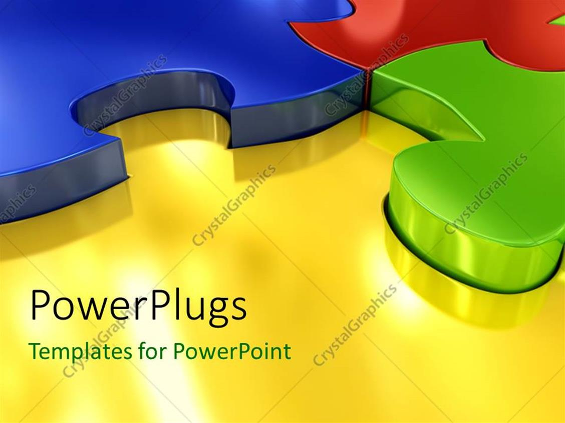 PowerPoint Template Displaying 3D Colored Puzzles Connected with Each other Over the Glowing Yellow Surface