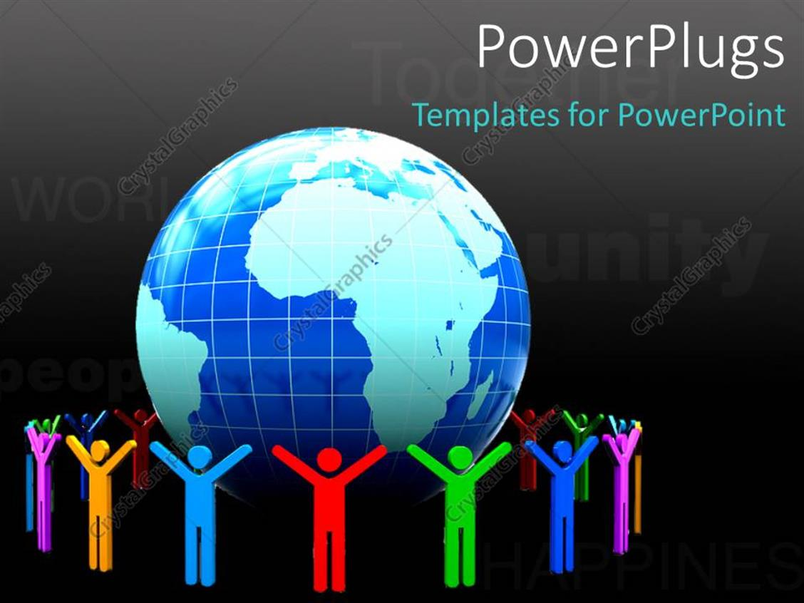 PowerPoint Template: 3D colorful people around earth globe
