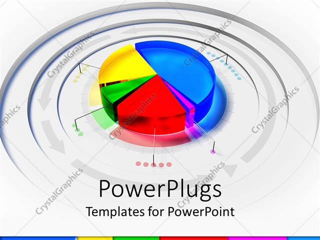 Powerpoint Template 3d Colorful Pie Chart Framed By Arrows On Gray