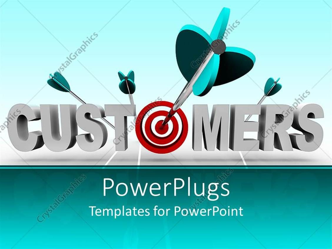 PowerPoint Template Displaying 3D Depiction of Customers Word with Red Target Instead of O Letter and Four Darts