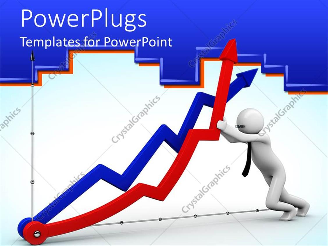 Powerpoint Template 3d Figure Pushing Up A Red Arrow On Economics