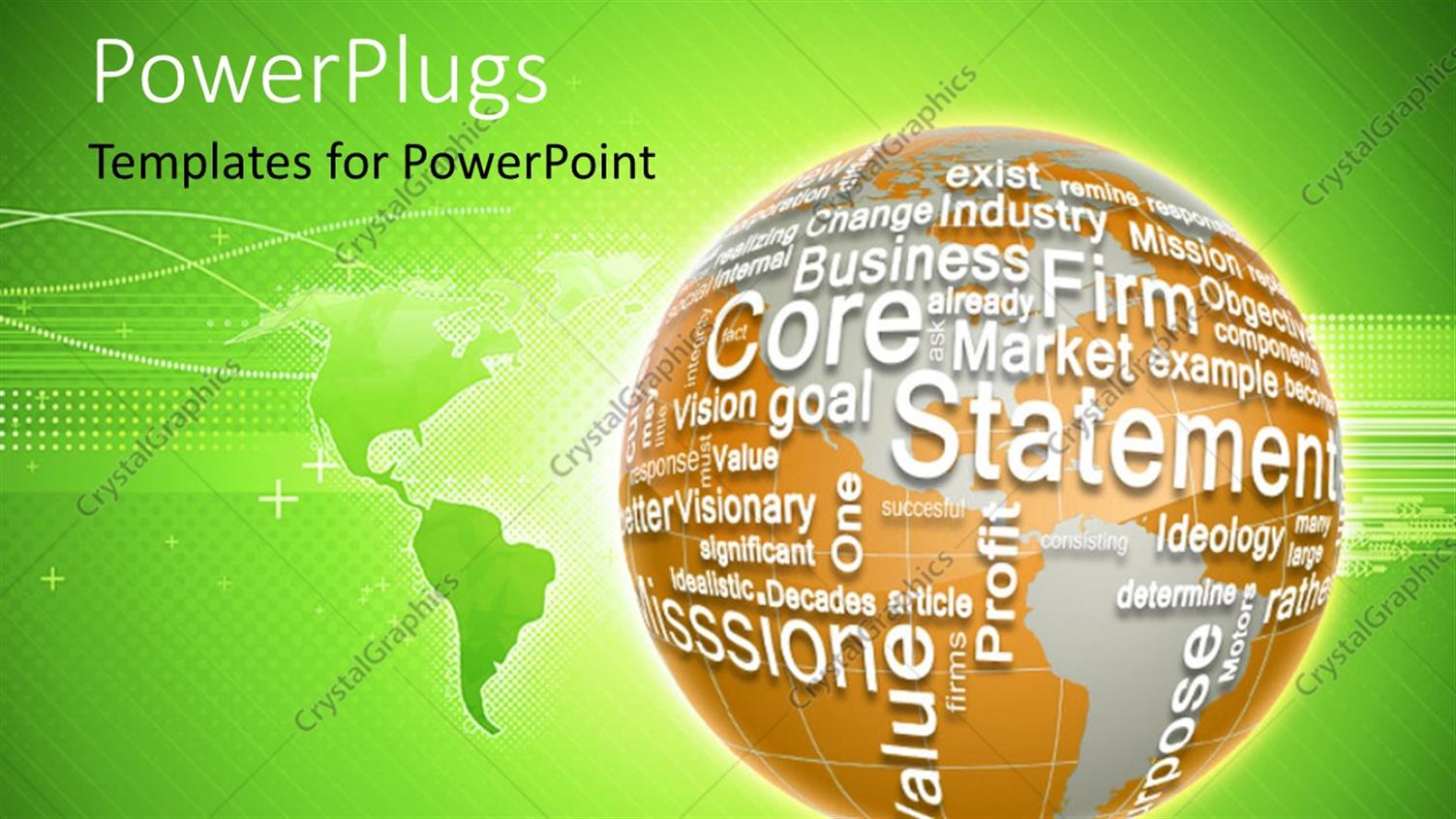 PowerPoint Template Displaying 3D Globe Made from Business Words as a Concept of Global Business with World Map in Background