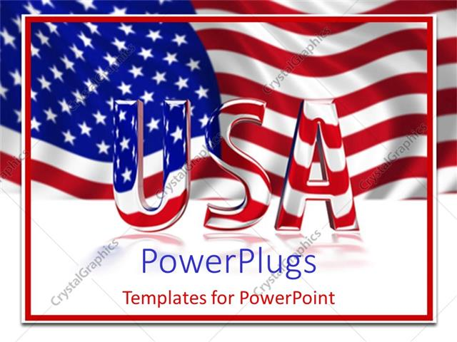 Powerpoint Template 3d Glossy Usa Text On An American Colored