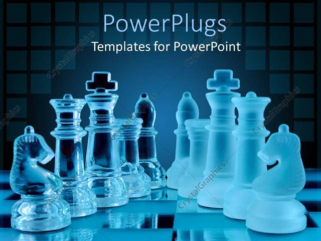 PowerPoint Template Displaying 3D Glowing Chess Pieces on Chess Table Glossy Chess Set