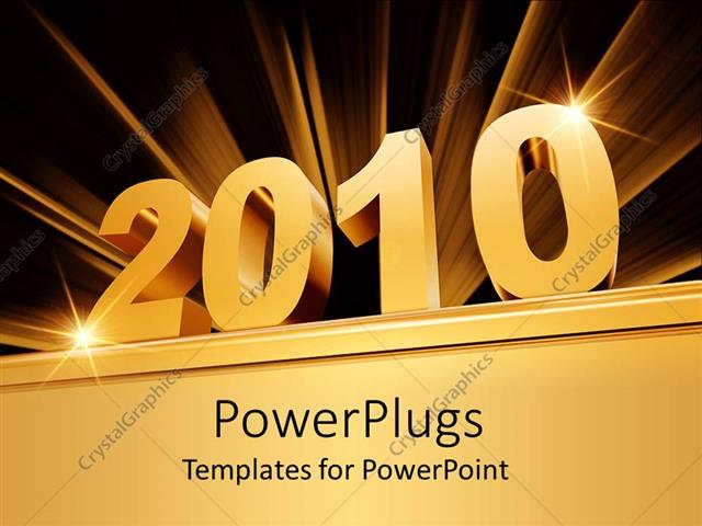 powerpoint template 3d golden 2010 on bold base with golden rays on