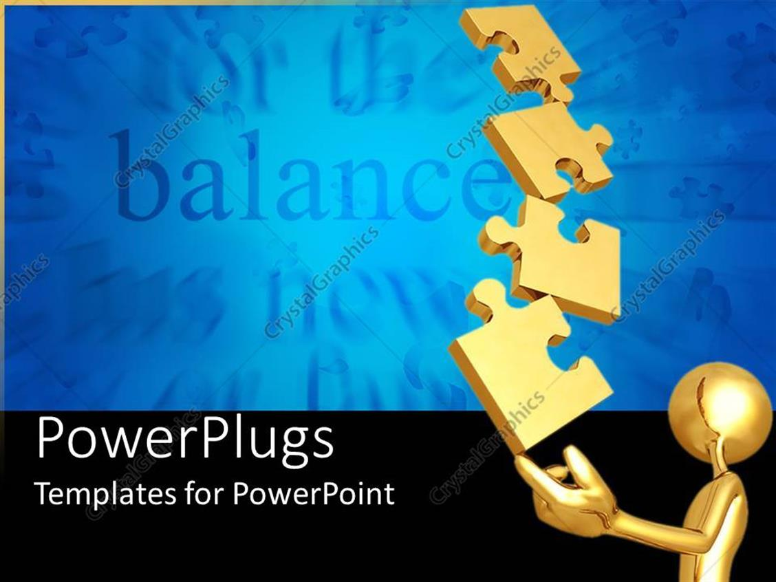 PowerPoint Template: 3D golden figure holding puzzle pieces