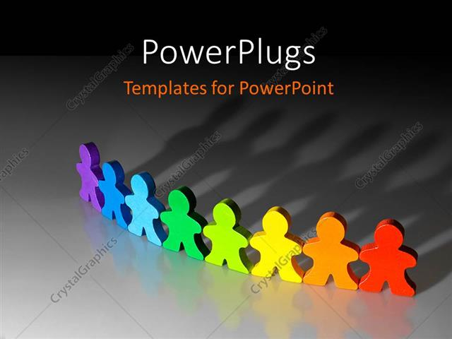 PowerPoint Template: 3D graphics of eight paper cut multi colored