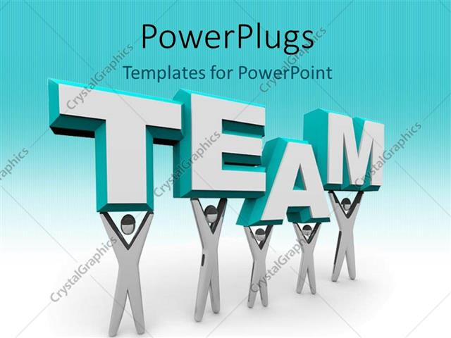 PowerPoint Template Displaying 3D Graphics of Five Characters Holding Up a Text