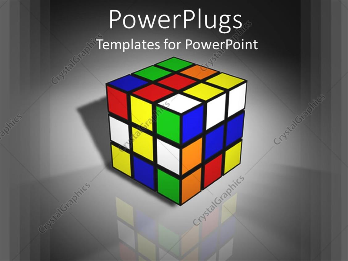 PowerPoint Template: 3D graphics of a large rubix cube on a shinny ...