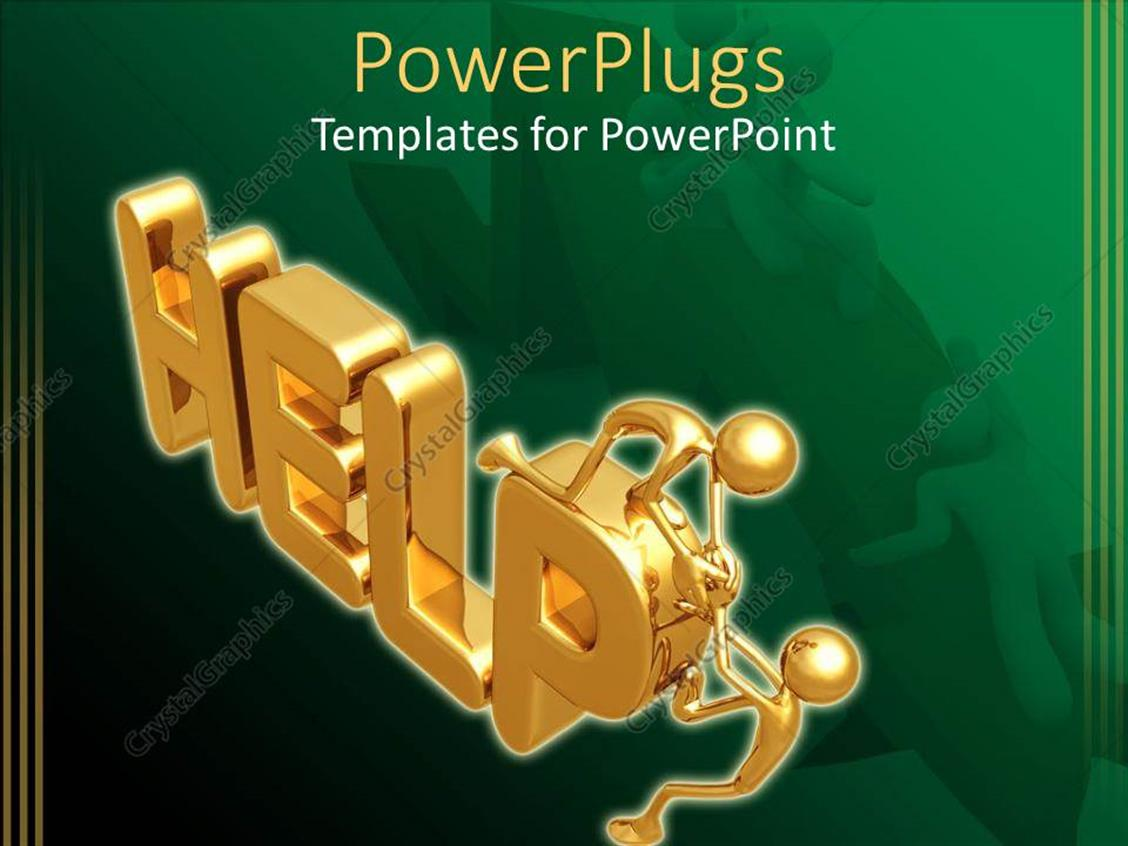 PowerPoint Template Displaying 3D Graphics of Two Gold Colored Men on a Text which Spells Out the Word