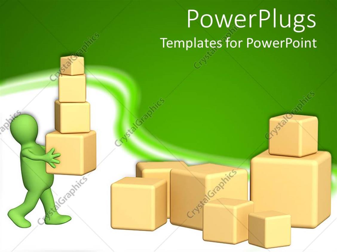 PowerPoint Template Displaying 3D Green Figure Carying 3D Boxes of Various Size and 3D Boxes of Different Sizes on the Ground on Green and White