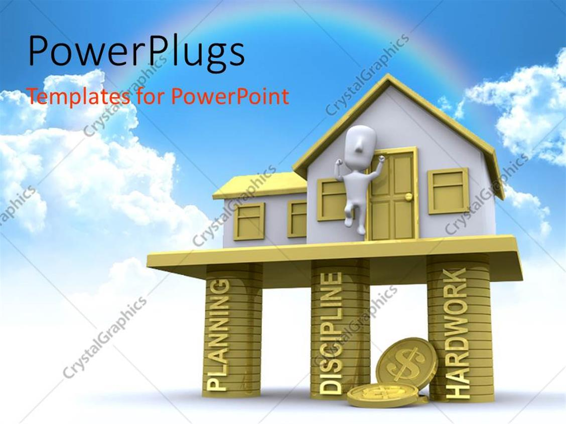 Powerpoint template 3d house built on pillars of planning powerpoint template displaying 3d house built on pillars of planning discipline and hard work toneelgroepblik Choice Image