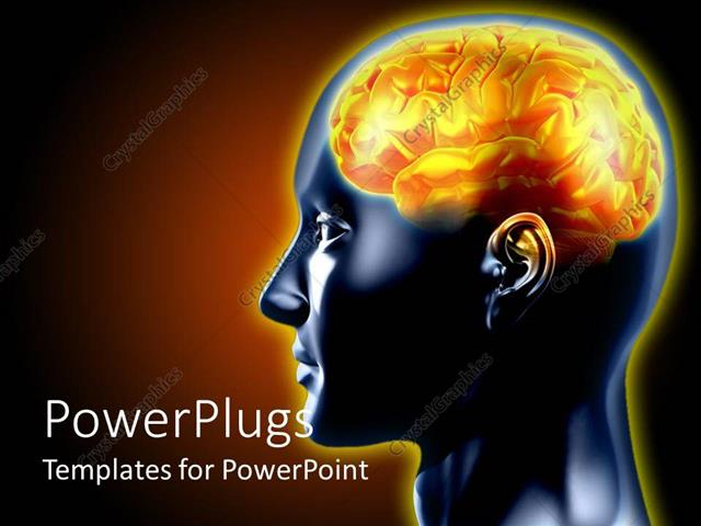 Powerpoint template a 3d human brain in yelow color on a black powerpoint template displaying a 3d human brain in yelow color on a black background toneelgroepblik Choice Image