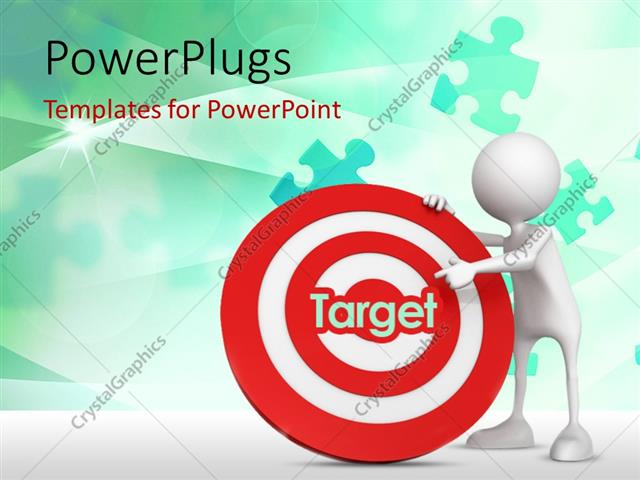 PowerPoint Template Displaying 3D Human Character Asking to Target in the Center of a Dartboard with Green Puzzles in the Background