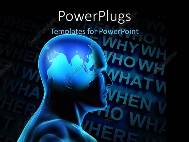 PowerPoint Template Displaying a 3D Human Figure with Lots Ff Text at the Background