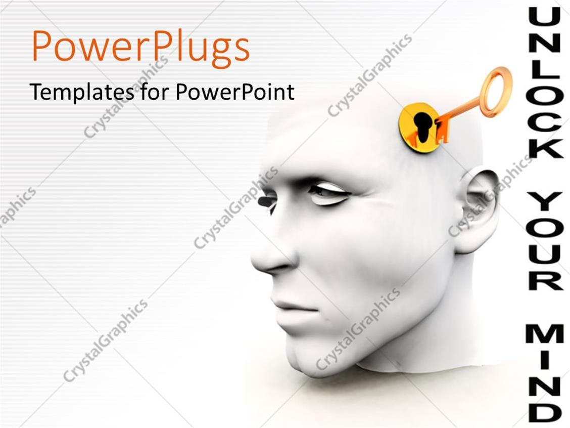 PowerPoint Template Displaying a 3D Human Head with a Key Hole and a Golden Key