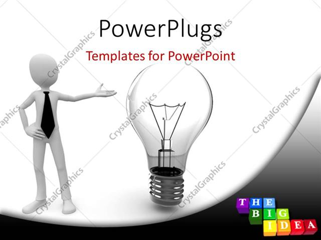 PowerPoint Template Displaying 3D Man Pointing to Light Bulb with Colored Tiles and Letters