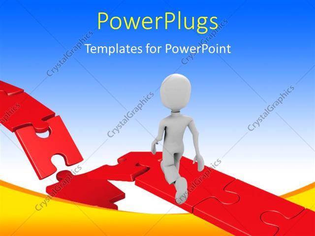 Powerpoint Template 3d Man Walking Towards Damaged Part
