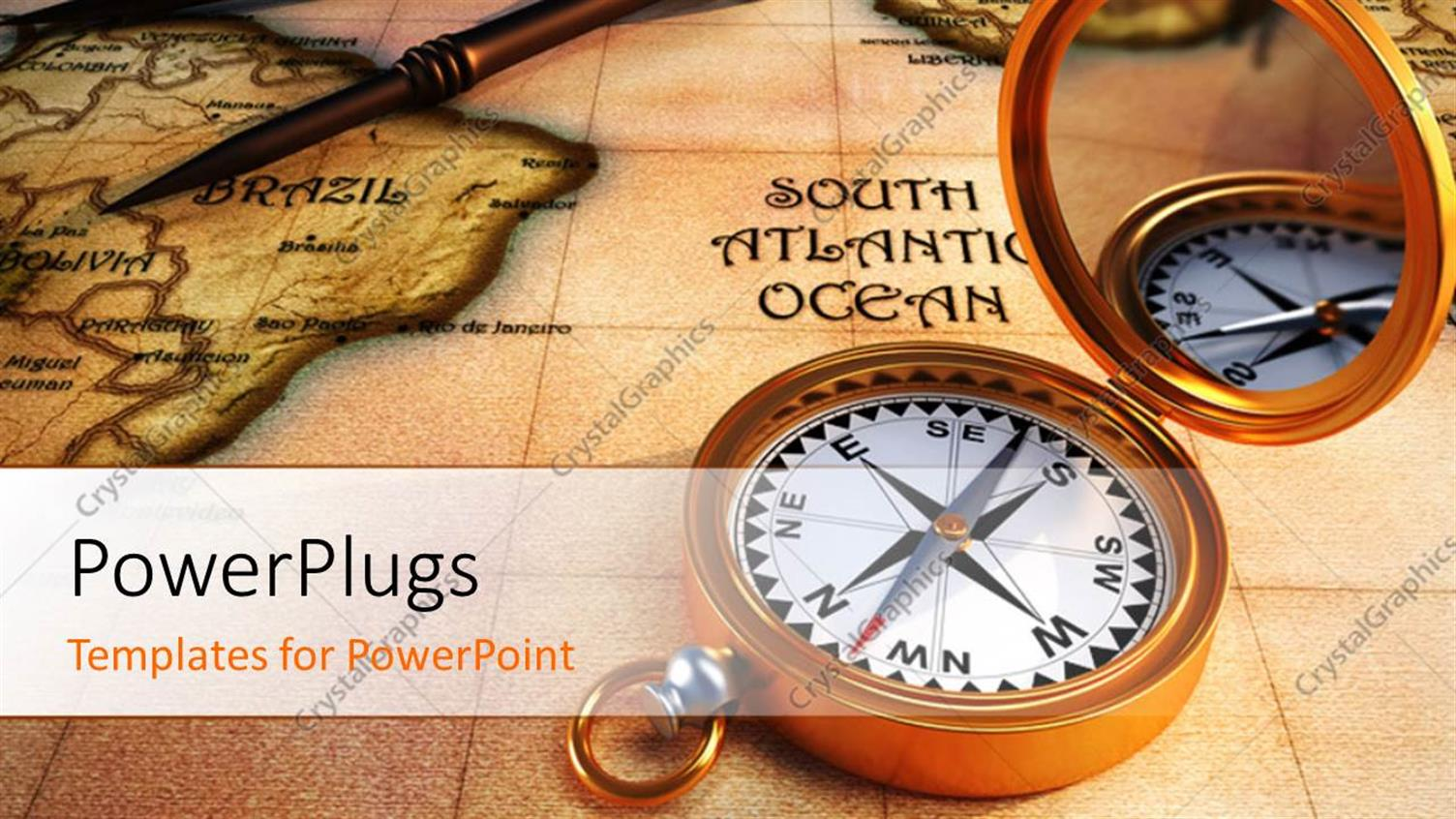 PowerPoint Template Displaying 3D Old Compass on Antique Map