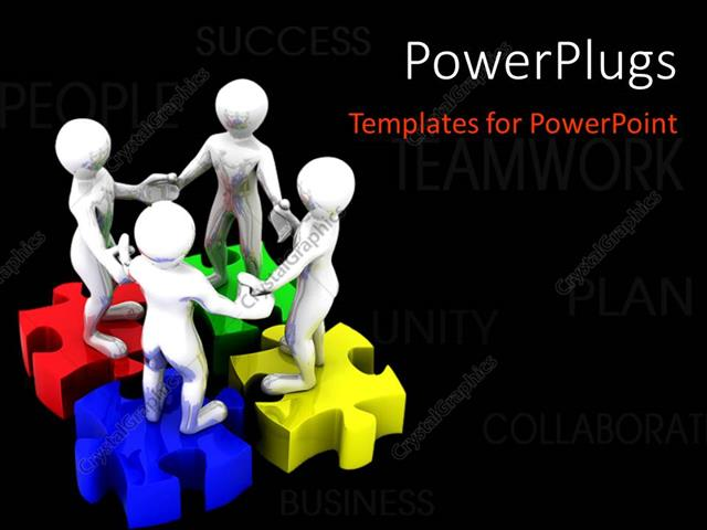PowerPoint Template Displaying 3D People Standing on Colored Puzzle Hand-in-Hand, with Black Color