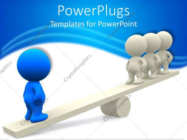 PowerPoint Template: 3D people standing on seesaw with white