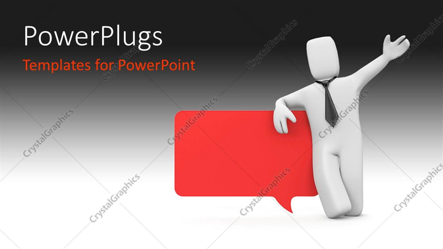 PowerPoint Template Displaying 3D Person Standing with Speech Bubble in Red Against Black and White Color
