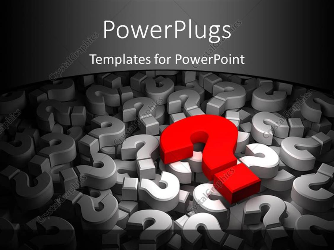 PowerPoint Template: 3D red color question mark over a lot of other ...
