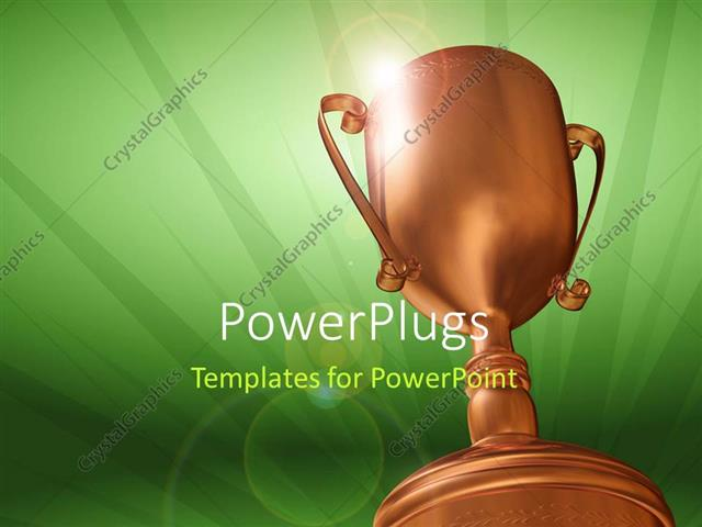 PowerPoint Template Displaying 3D Rendering Of Bronze Trophy On Green Background