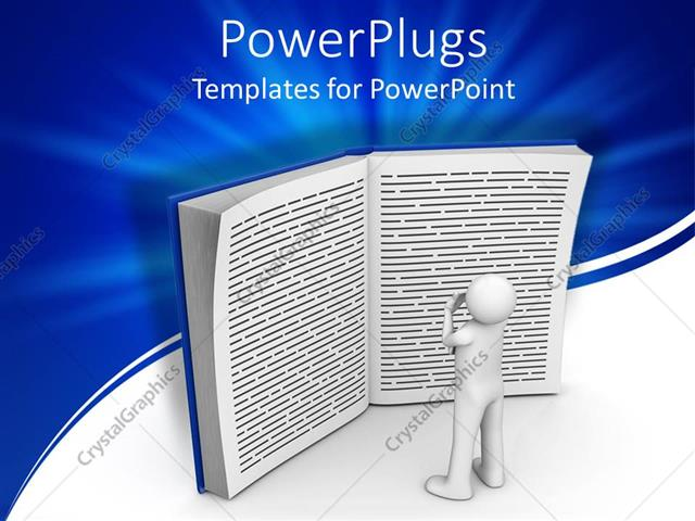 PowerPoint Template Displaying a 3D White Character Standing and Reading a big Book