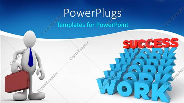 PowerPoint Template Displaying 3D White Figure with Blue Tie and Brown Suitcase and Stairs Made of Blue Work Word with Red Success Word on Top of the