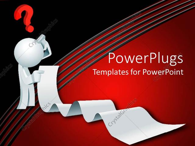 PowerPoint Template Displaying 3D White Figure Thinking Holding Long List with Red Question Mark Above Head